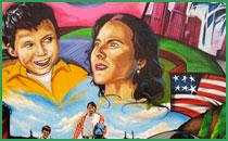Icu art in creative unity community murals la misma luna for Mural la misma luna